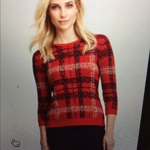 Wool plaid sweater with 3/4 sleeves